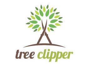 国外伐木剪刀植物特征的logo设计图片